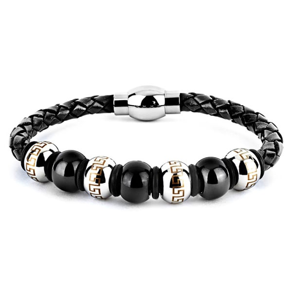 Crucible Black Leather And Stainless Steel Men S Bead