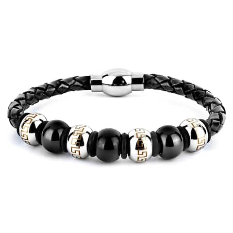 Crucible Black Leather and Stainless Steel Bracelet