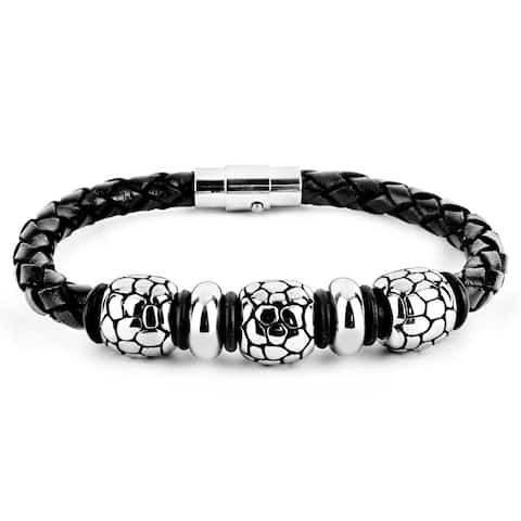 Men's Braided Black Leather and Stainless Steel Bead Bracelet