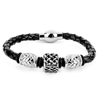 Crucible Men's Black Leather and Steel Lattice Square Bead Braided Bracelet