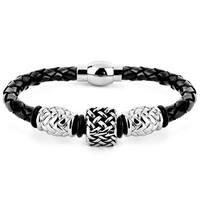 Crucible Black Leather and Steel Lattice Square Bead Braided Bracelet