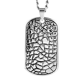 Stainless Steel Men's Textured Reptilian Dog Tag Necklace