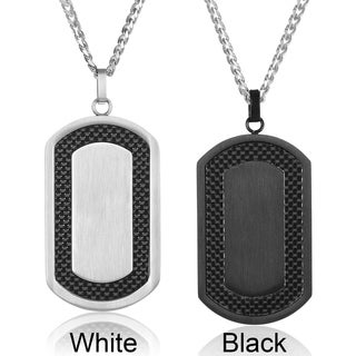 Crucible Men's Stainless Steel Carbon Fiber Frame Dog Tag Necklace