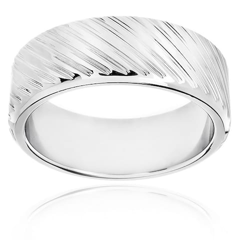 Men's Polished Stainless Steel Diagonal Grooved 8mm Wide Ring