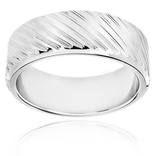 Men's Polished Stainless Steel Diagonal Striped Ring - 8mm Wide