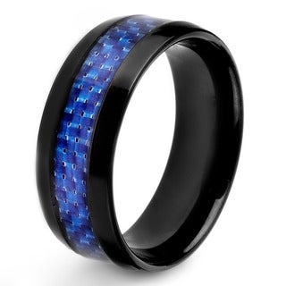 Crucible Men's Black Plated Stainless Steel Carbon Fiber Inlay 8mm Wide Ring