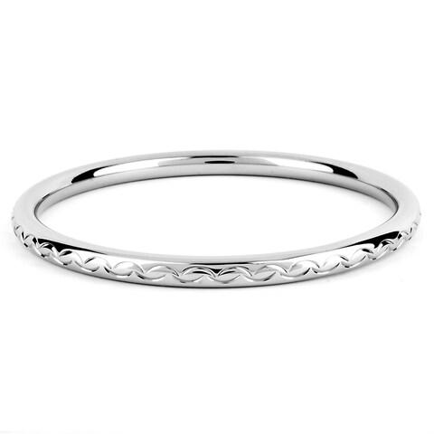 ELYA Stainless Steel Scalloped Design Bangle Bracelet - 8 inches