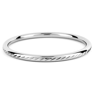 ELYA Stainless Steel Diamond-cut Design Bangle Bracelet