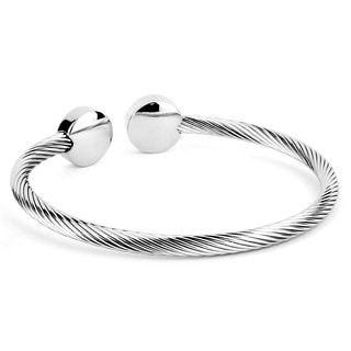 Stainless Steel Cable Wire and Polished Disk Cuff Bracelet