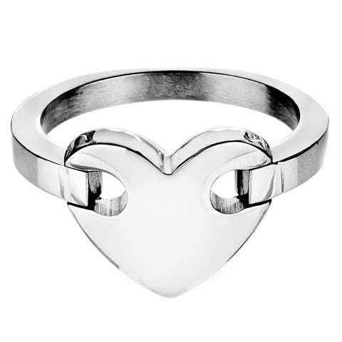 High Polish Mirror Finish Heart Stainless Steel Ring - 13mm Wide
