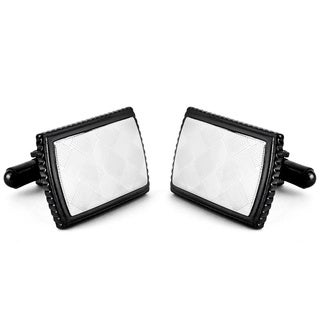 Crucible Black-plated Stainless Steel Diamond-patterned Inlay Cuff Links