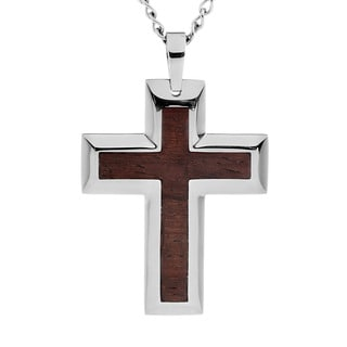 Crucible Stainless Steel Brown Wood Inlay Cross Necklace