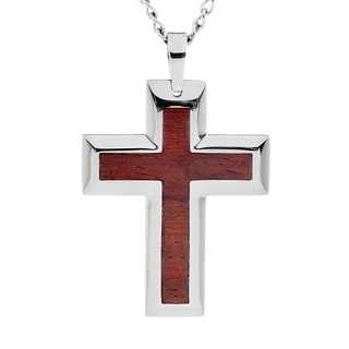 Crucible Men's Stainless Steel Brown Wood Inlay Cross Necklace