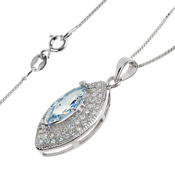 West Coast Jewelry Sterling Silver Round Cubic Zirconia Pendant