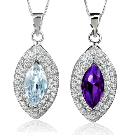 ELYA Sterling Silver Marquise-cut Cubic Zirconia Double Halo Necklace