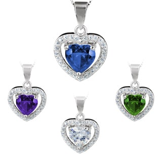 ELYA Sterling Silver Heart-cut Cubic Zirconia Halo Necklace