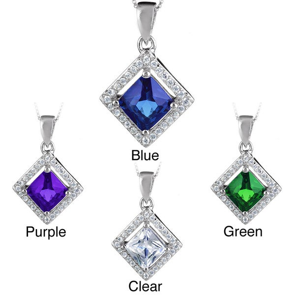 ELYA Sterling Silver Square-cut Cubic Zirconia Halo Necklace