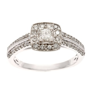 Sofia 10k White Gold 1/2ct TDW Diamond Prong and Pave-set Engagement Ring (H-I, I1-I2)