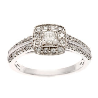 Sofia 10k White Gold 1/2ct TDW Diamond Prong and Pave-set Engagement Ring