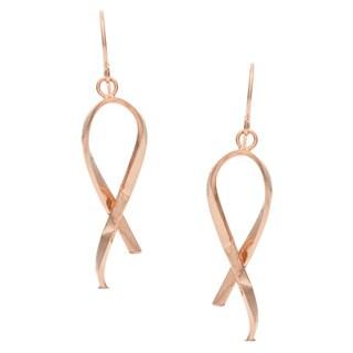 14k Rose Gold Italian Fashion Ribbon Dangle Earrings