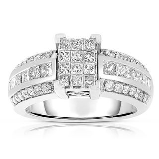 14k White Gold 1 1/3ct TDW Princess-cut Diamond Engagement Ring