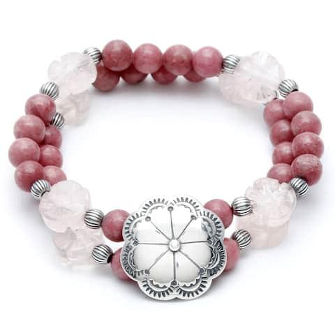 Silvermoon Sterling Silver Rhodonite and Rose Quartz Stretch Bracelet