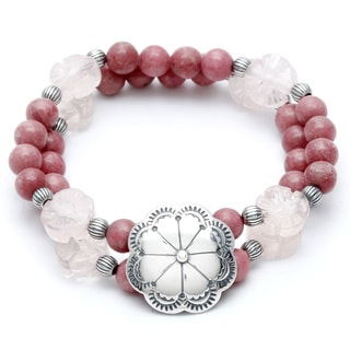 Link to Silvermoon Sterling Silver Rhodonite and Rose Quartz Stretch Bracelet Similar Items in Earrings