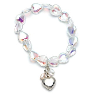 Silvermoon Silver Crystal Heart and Rose Quartz 2-piece Bracelet Set