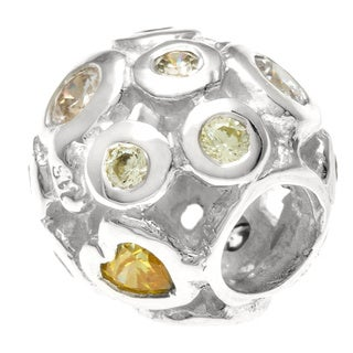 Sterling Silver Yellow and Clear Crystal Charm Bead