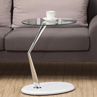 Glossy White and Chrome Glass-Top Accent Table