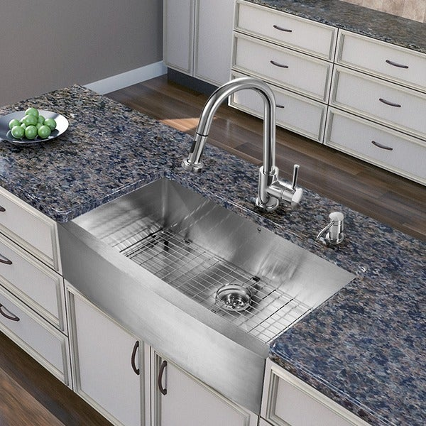 Vigo All In One 36 Inch Farmhouse Stainless Steel Kitchen Sink And Chrome Faucet Set Free