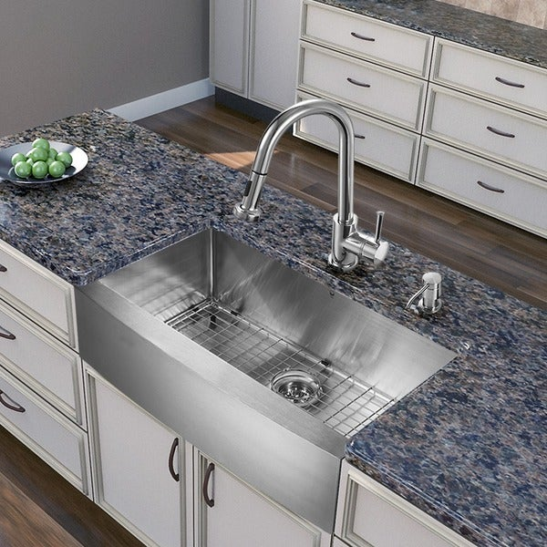 KRAUS 30 Inch Farmhouse Single Bowl Stainless Steel Kitchen Sink with ...