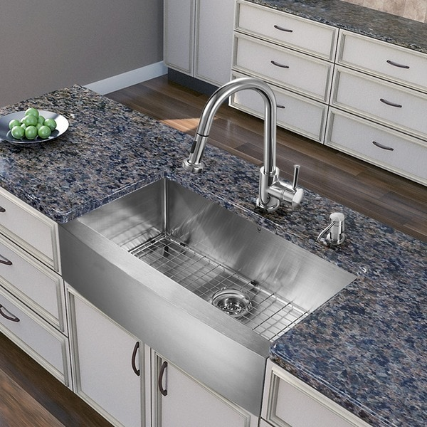 27 Inch Farmhouse Sink : KRAUS 30 Inch Farmhouse Single Bowl Stainless Steel Kitchen Sink with ...