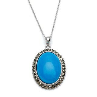 Silvermoon Sterling Silver Turquoise and Marcasite Necklace