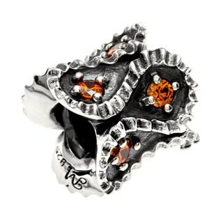 Sterling Silver Orange Crystal Charm Bead
