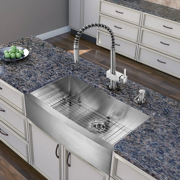 Farmhouse Stainless Steel Kitchen Sink : ... in One 36-Inch Farmhouse Stainless Steel Kitchen Sink and Faucet Set