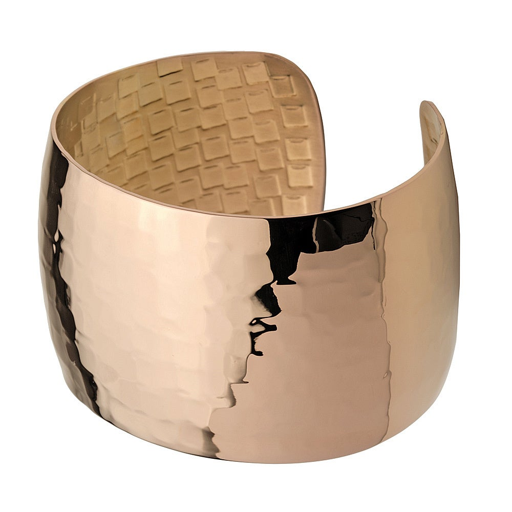 Brown Ion-plated Stainless Steel 40-mm Hammered Texture Cuff Bracelet (Brown IP Cuff Bangle)