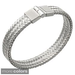Stainless Steel Magnetic Lock 12-mm Braided Bangle Bracelet