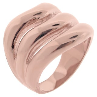 Rose Ion-plated Stainless Steel Open Row Ring