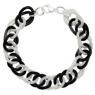 Two-tone Stainless Steel 9-inch Mesh Link Bracelet