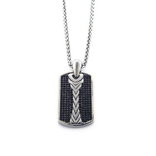 Men's Alternative Black Cubic Zirconia Tag Necklace