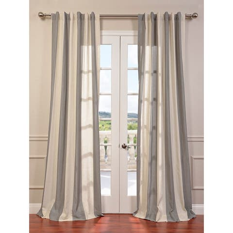 Exclusive Fabrics Del Mar Grey Linen Blend Stripe Curtain Panel