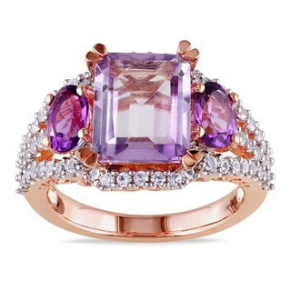 Link to Miadora Rose-plated Silver Created White Sapphire, Rose de France and Amethyst Ring Similar Items in Rings