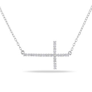 Miadora Sterling Silver 1/10ct TDW Sideways Diamond Cross Necklace
