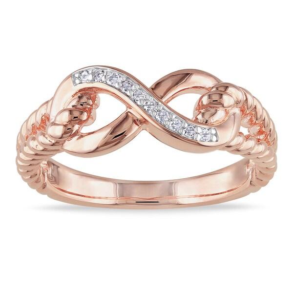 Miadora Rose-plated Silver Diamond Infinity Ring