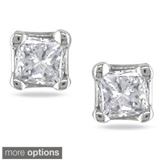 Miadora 14k Gold 1/10ct Princess Diamond Stud Earrings