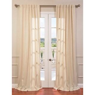 Exclusive Fabrics Lanai Natural Linen Blend Herringbone Curtain Panel