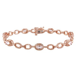 Miadora Rose Gold over Silver Morganite Station Link Bracelet