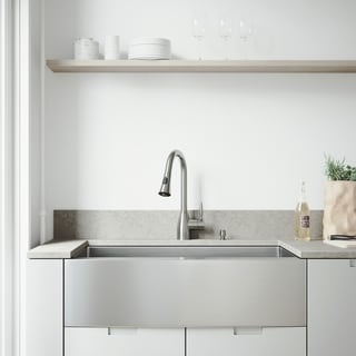 "VIGO All-In-One 36"" Bedford Stainless Steel Farmhouse Kitchen Sink Set With Aylesbury Faucet In Stainless Steel"