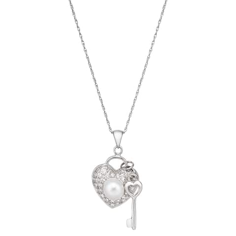 Pearlyta Sterling Silver Pearl and CZ Heart and Key Necklace (5-6 mm)